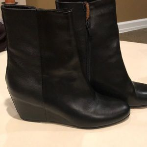 Vince black wedge bootie